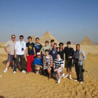 A school group at the Pyramids of Giza, Egypt   Mark Zannoni