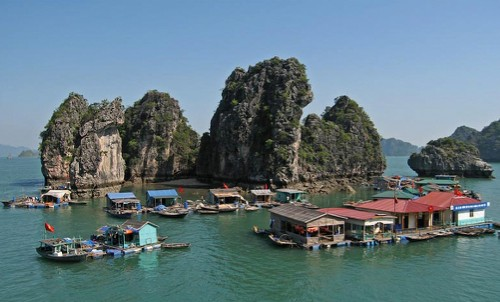 Beautiful view of the Halong floating village, Vietnam