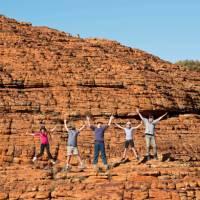 Students hiking the Kings Canyon Rim walk   Tourism NT/Shaana McNaught
