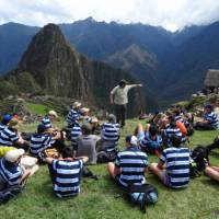 Students at Machu Picchu during their school trip in Peru | Drew Collins