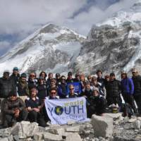 Students at Everest Base Camp in Nepal