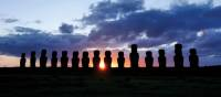 Sunset over the beautiful Moai stone heads | Heike Krumm