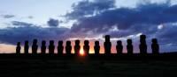 Sunset over the beautiful Moai stone heads | Heike Krumm