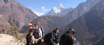 Resting during a school trek in Nepal | Greg Pike