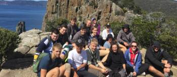 Students taking a break from their trek in Tasmania | Holly Van De Beek